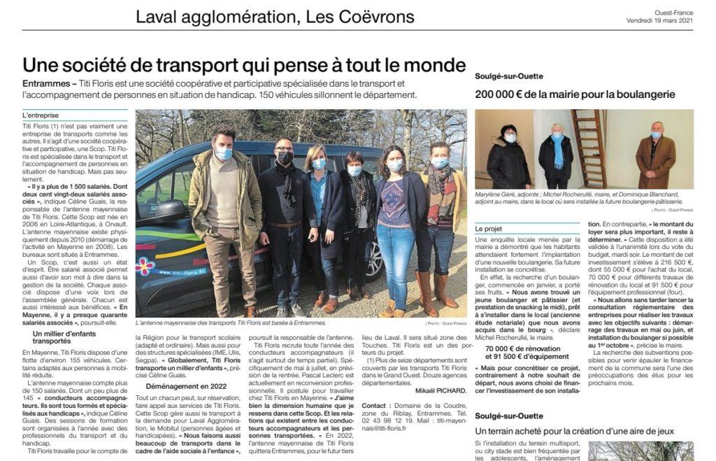 OUEST FRANCE - Entrammes. Titi Floris, la société de transport coopératif qui pense vraiment à tout le monde